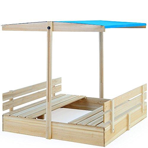 Sandkasten mit verstellbarem Sonnendach und integrierten Sitzbänken